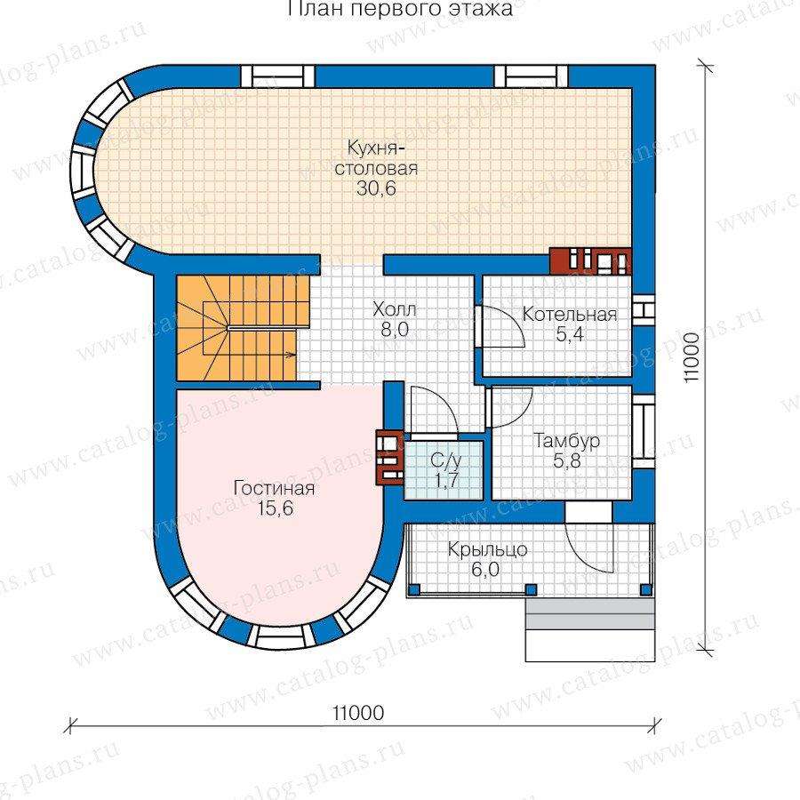 План 1-этажа проекта 58-53