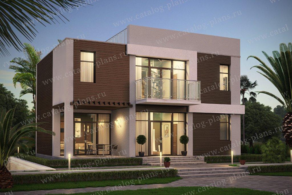 Проект жилой дом #60-79 материал - газобетон, стиль хай-тек