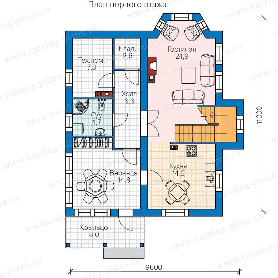 План 1-этажа проекта 60-84