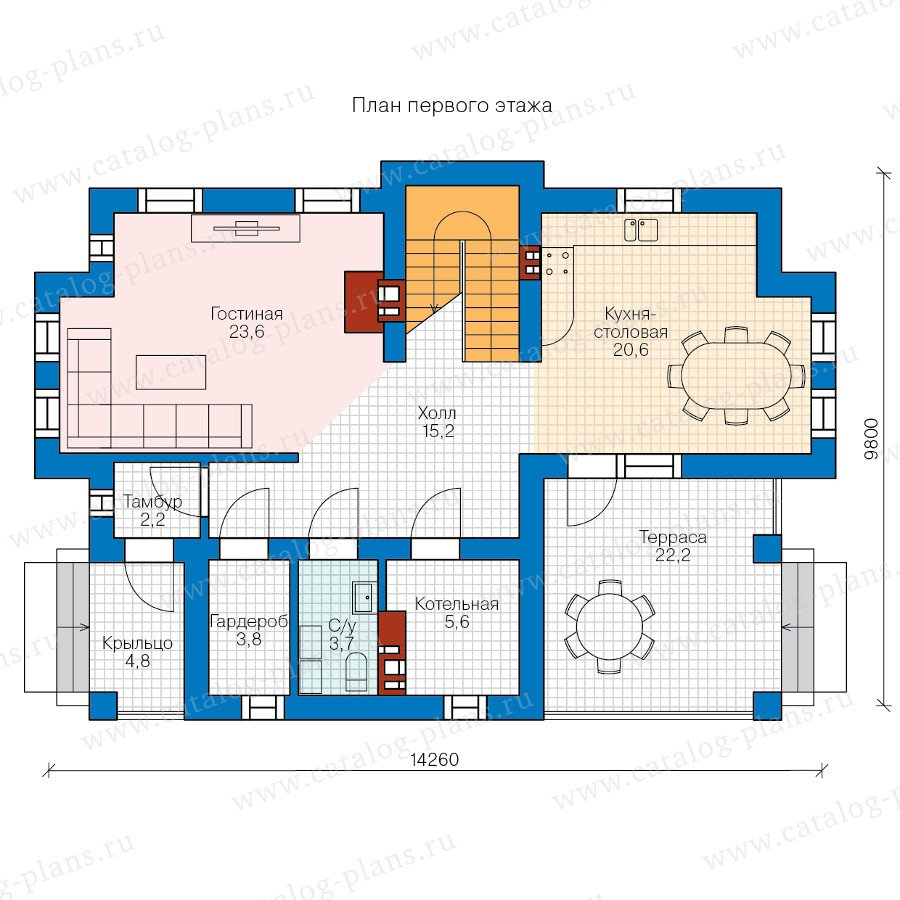 План 1-этажа проекта 58-42K