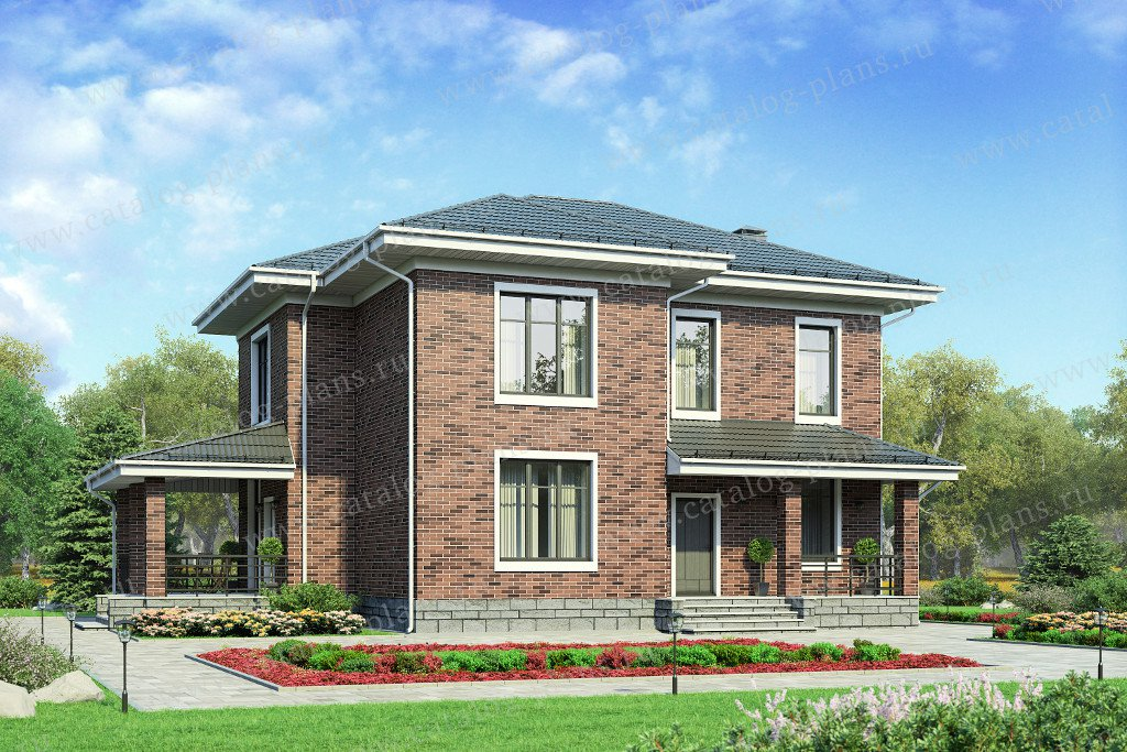 Проект жилой дом #58-28L материал - газобетон, стиль классический