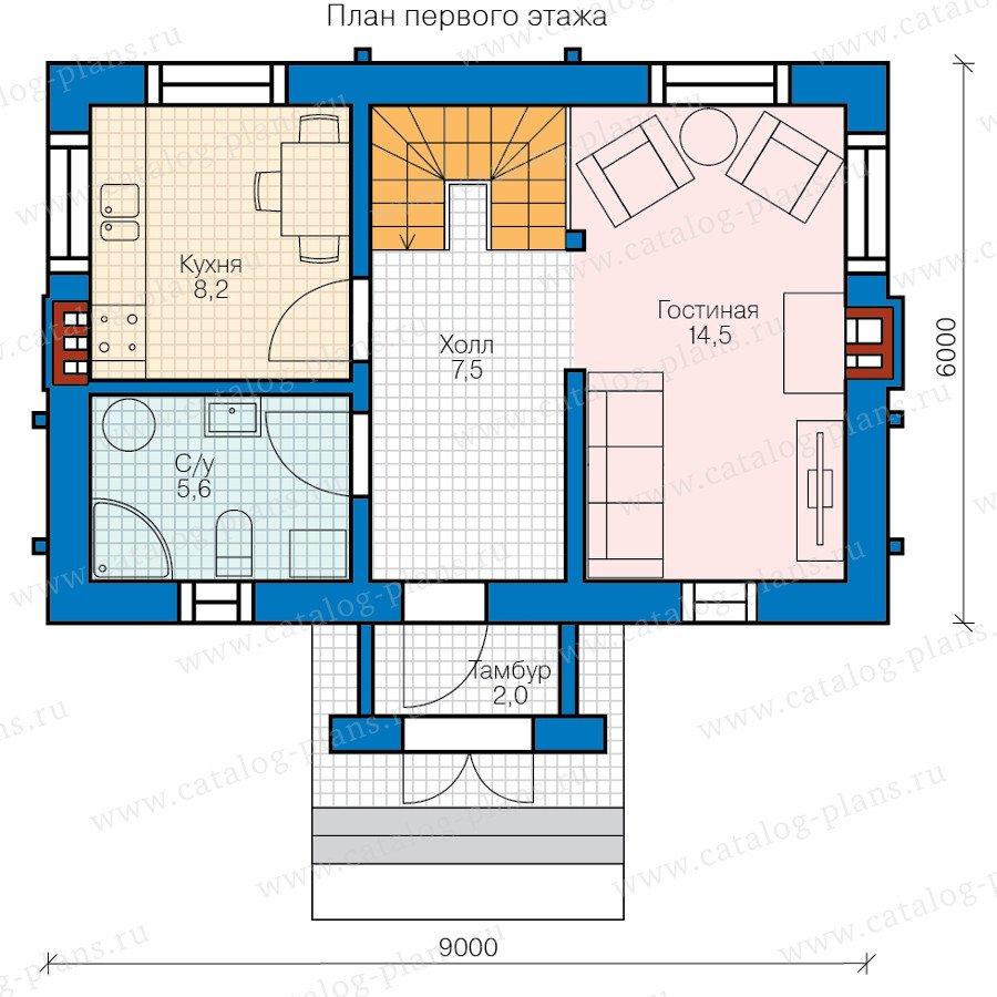 План 1-этажа проекта 58-58