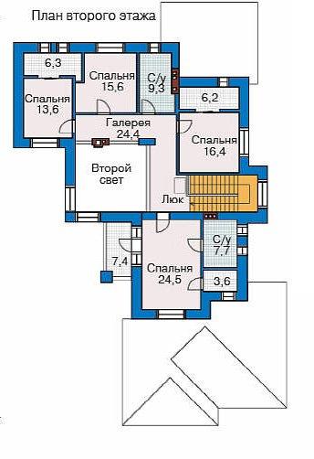 План 2-этажа проекта 32-45