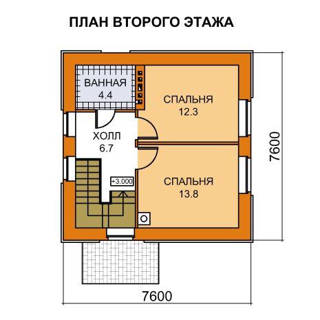 План 2-этажа проекта 59-38