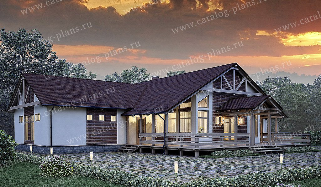 Проект жилой дом #70-27 материал - каркас, стиль скандинавский