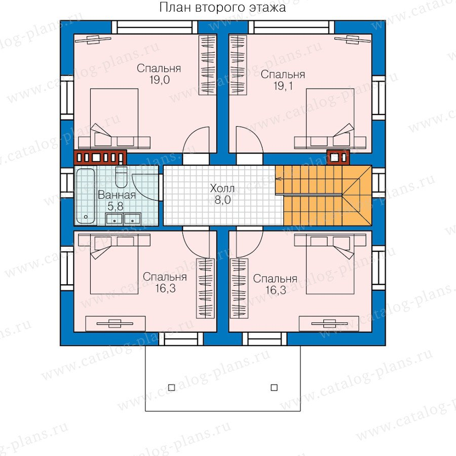 План 2-этажа проекта 58-52