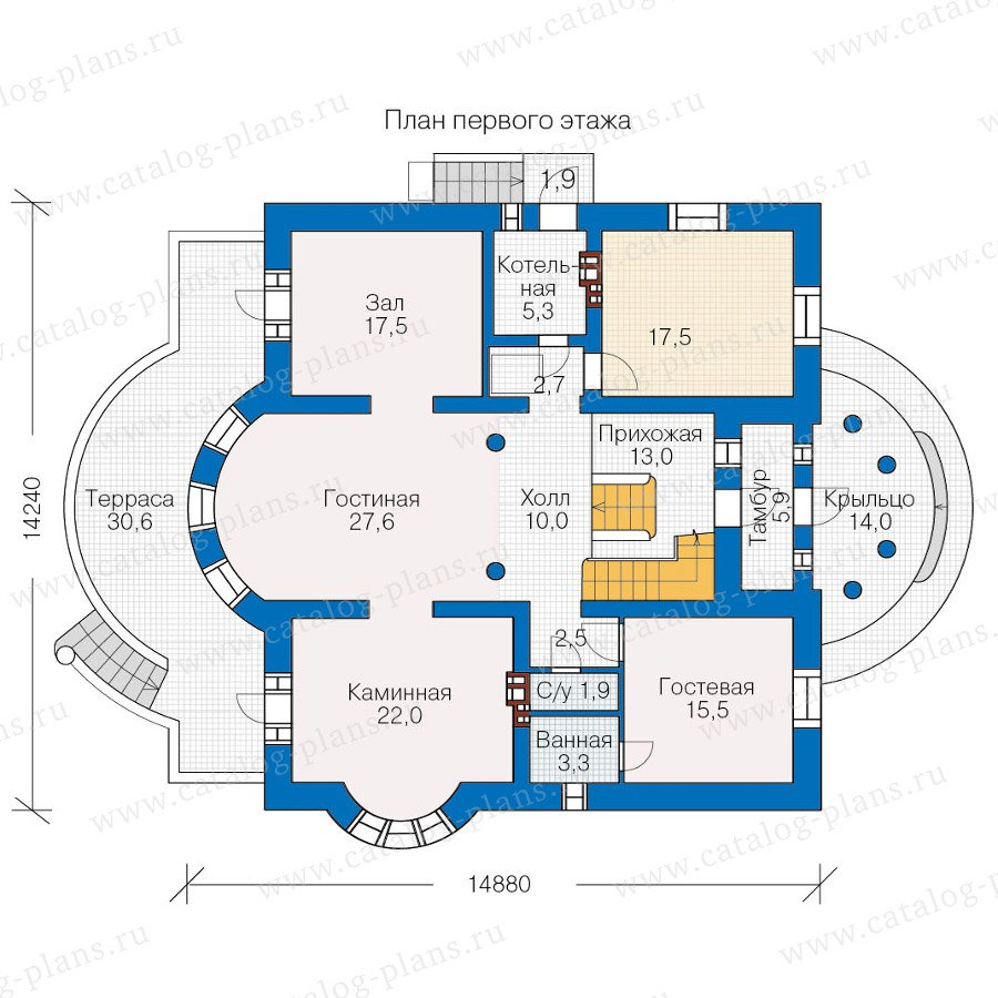 План 1-этажа проекта 40-52L
