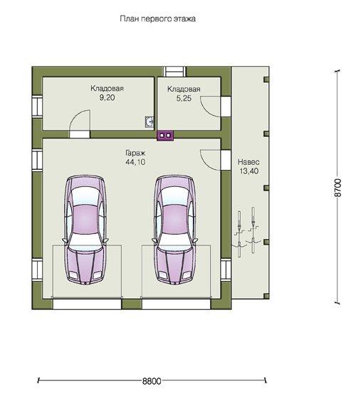 План 1-этажа проекта 70-00