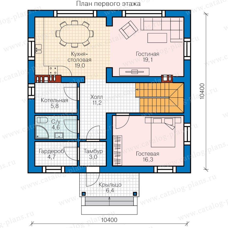 План 1-этажа проекта 58-52