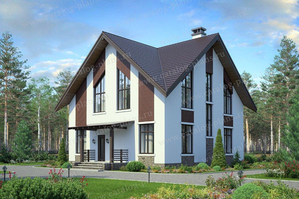 Проект дом #58-52 материал - газобетон, стиль современный