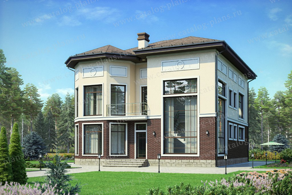 Проект жилой дом #48-21C материал - кирпич, стиль современный
