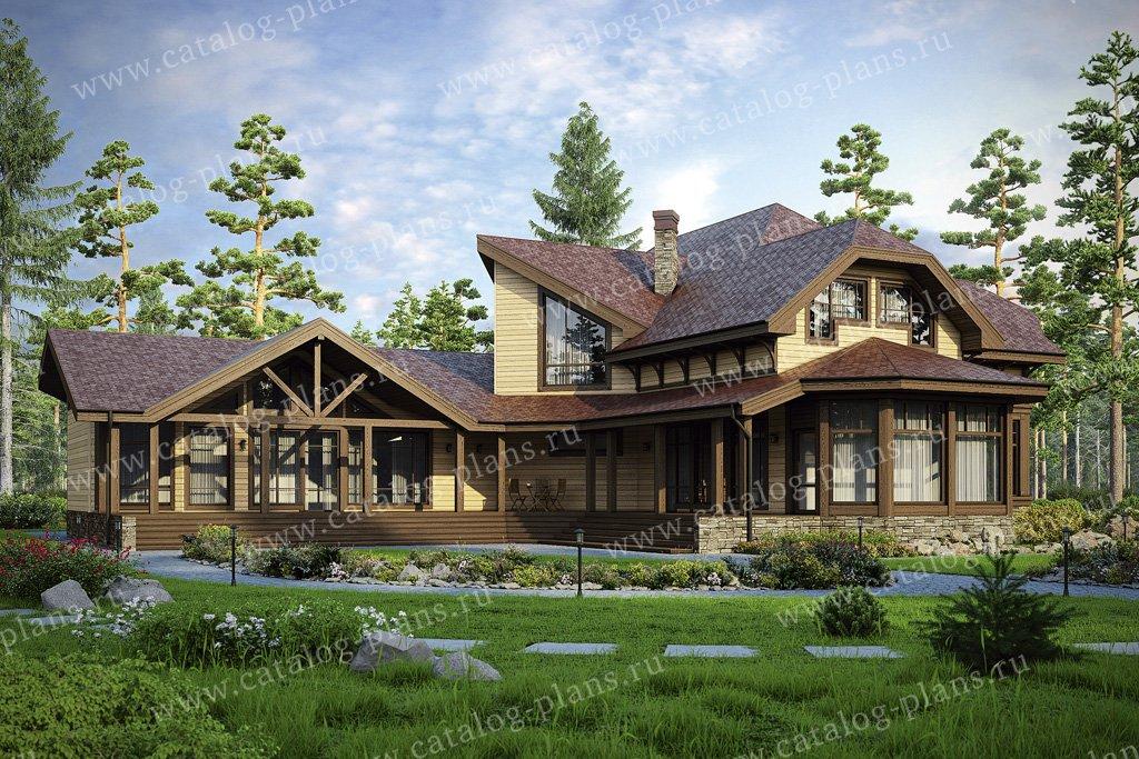 Проект двухэтажного деревянного дома с мансардой № 13-18 в стиле русская усадьба