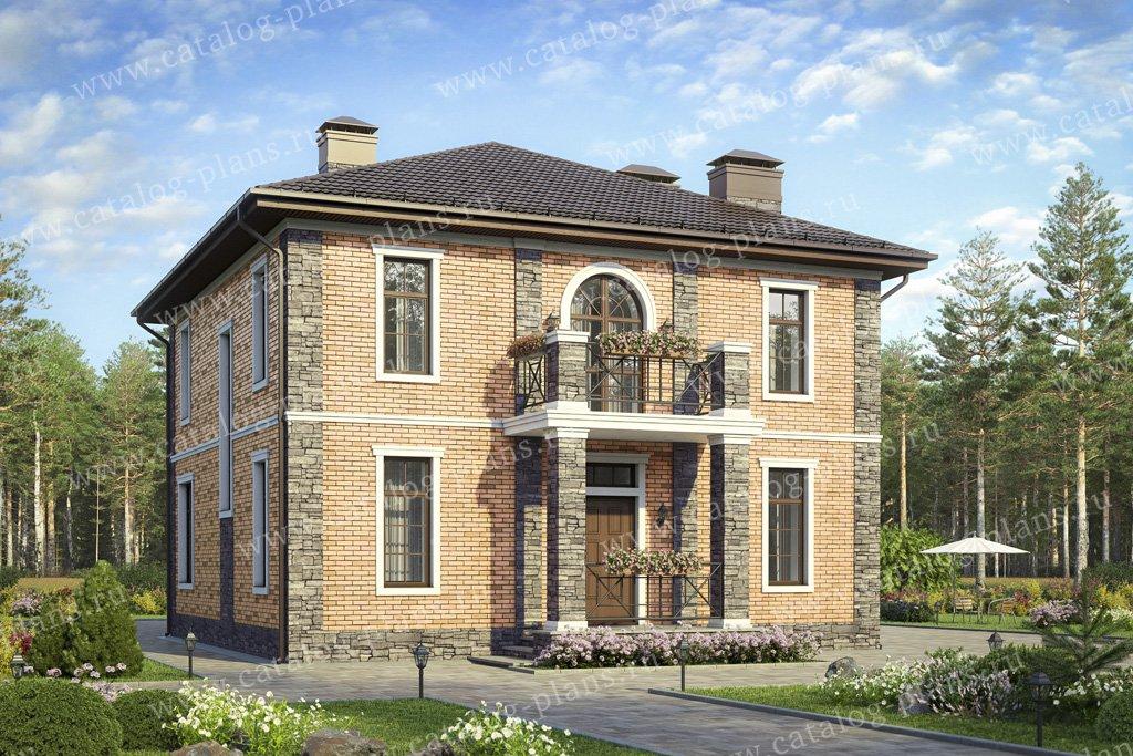 Проект жилой дом #57-05GL материал - газобетон, стиль европейский