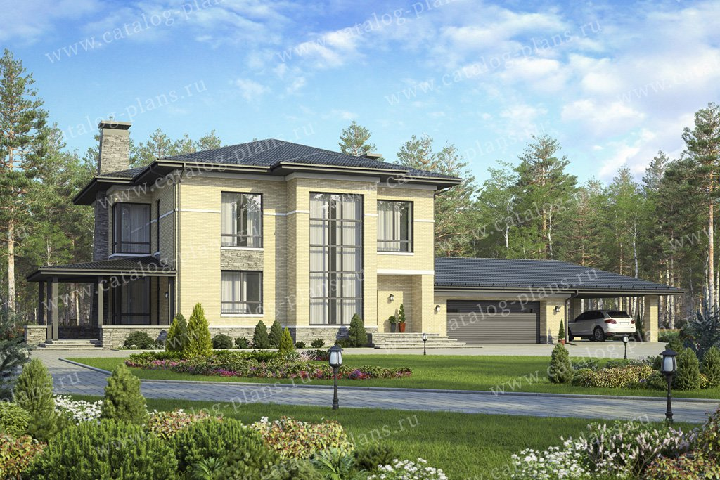 Проект жилой дом #48-30A материал - кирпич, стиль европейский