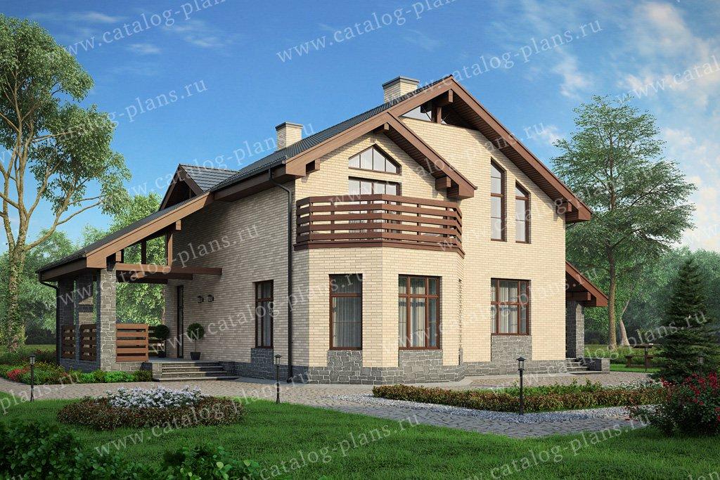 Проект жилой дом #57-43L материал - кирпич, стиль скандинавский