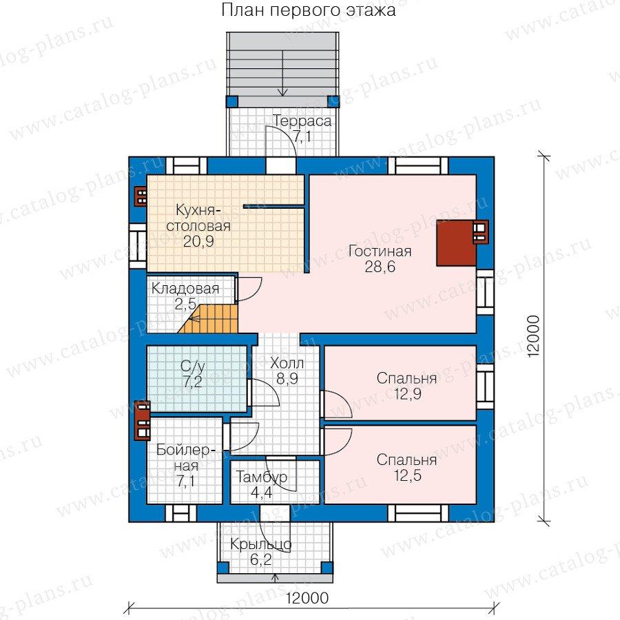 План 1-этажа проекта 58-51L