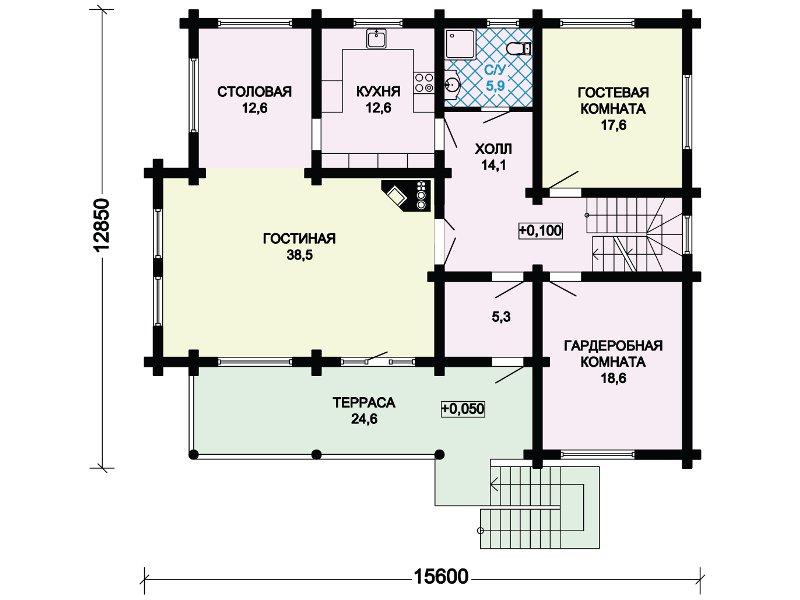 План 2-этажа проекта 13-29