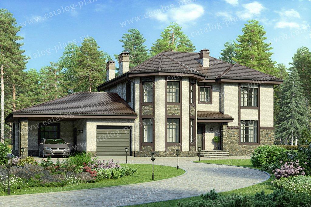 Проект жилой дом #48-29C материал - кирпич, стиль классический