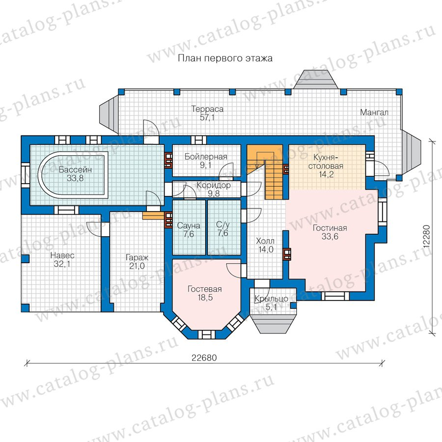 План 1-этажа проекта 48-29C
