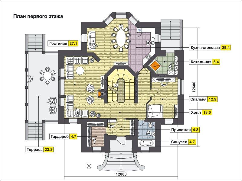 План 2-этажа проекта 59-78B