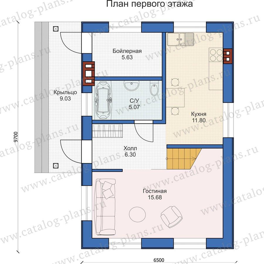 План 1-этажа проекта 58-67