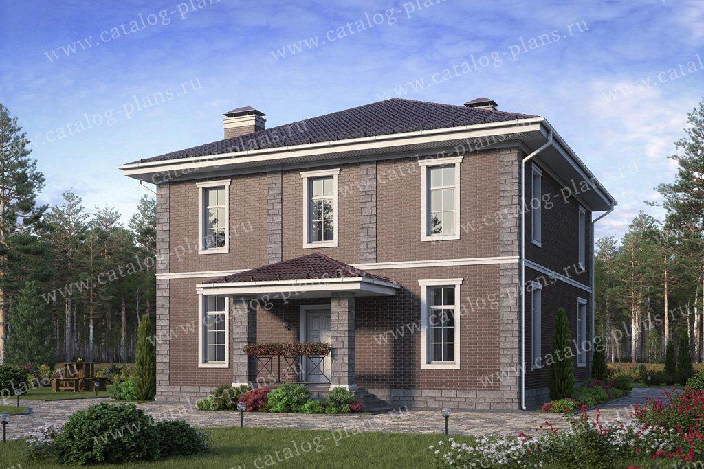 Проект жилой дом #57-05DKL материал - кирпич, стиль европейский