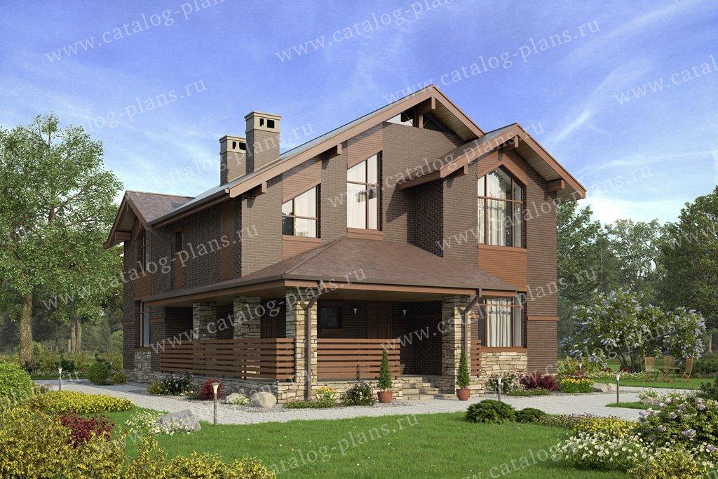 Проект жилой дом #57-42AK материал - кирпич, стиль скандинавский