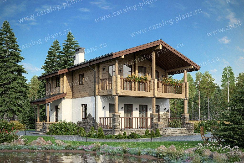 Проект жилой дом #80-15A материал - комбинированный, стиль скандинавский