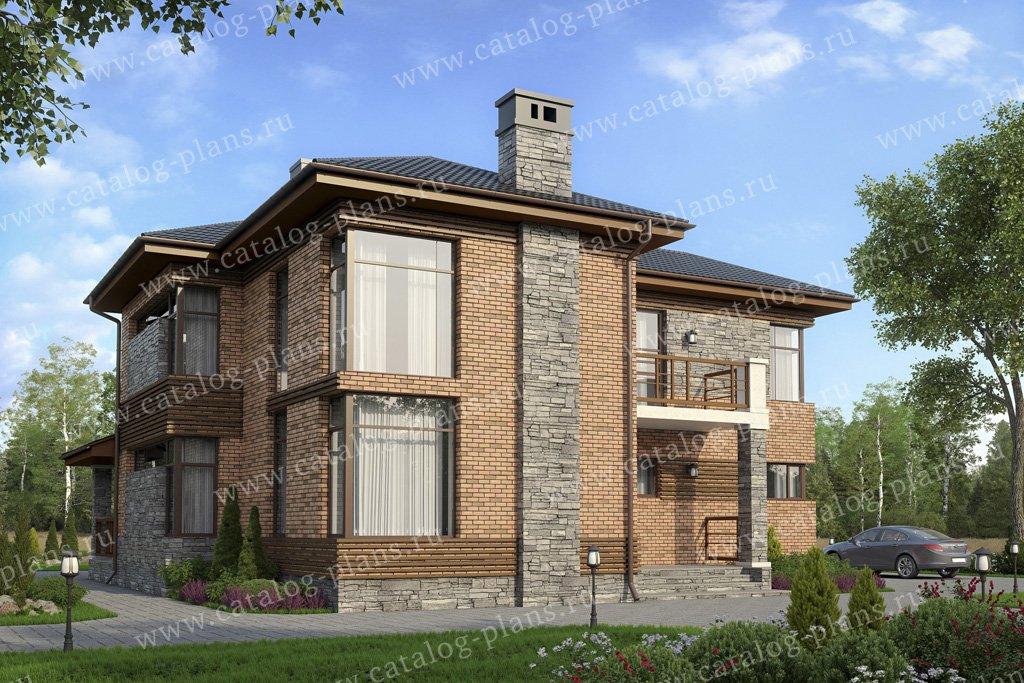Проект жилой дом #57-21AKL1 материал - кирпич, стиль современный