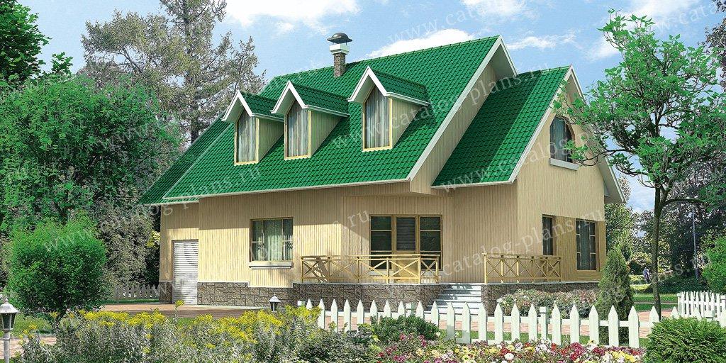 Проект жилой дом #10-53 материал - дерево, стиль европейский