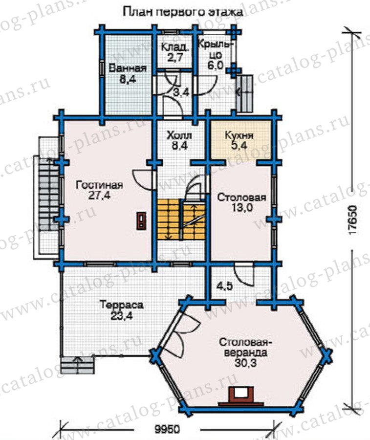 План 2-этажа проекта 12-23