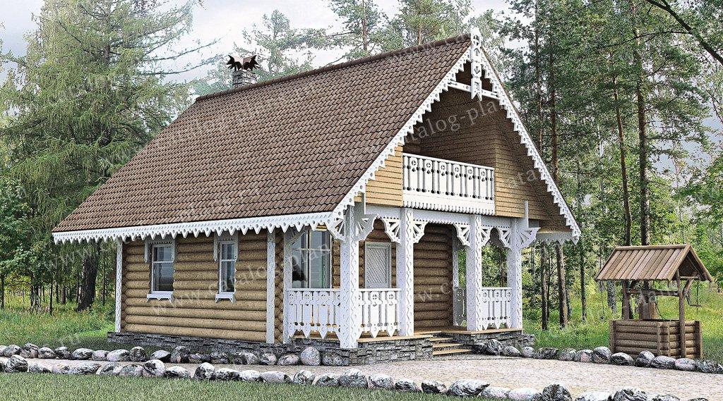 Проект жилой дом #10-82 материал - дерево, стиль Русская усадьба