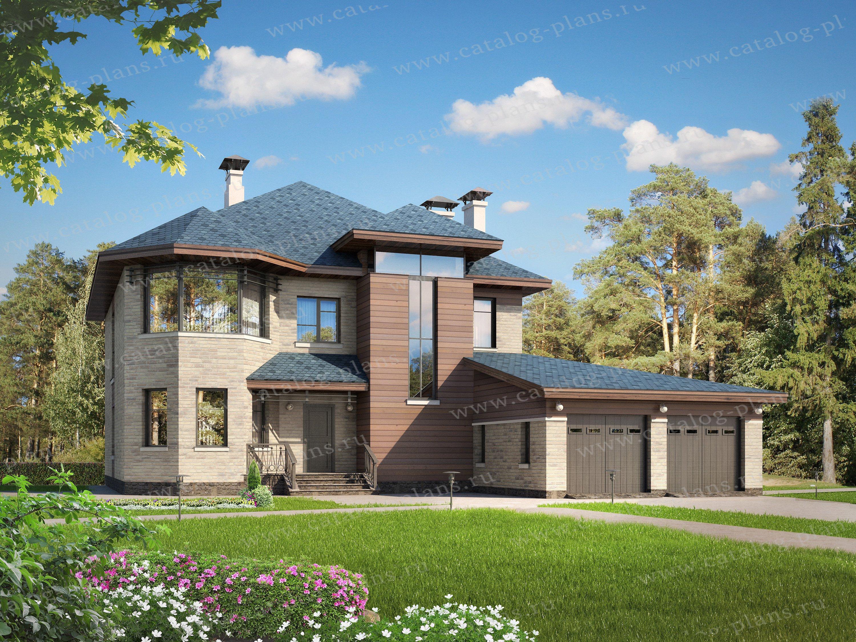 Проект жилой дом #47-12 материал - кирпич, стиль райт