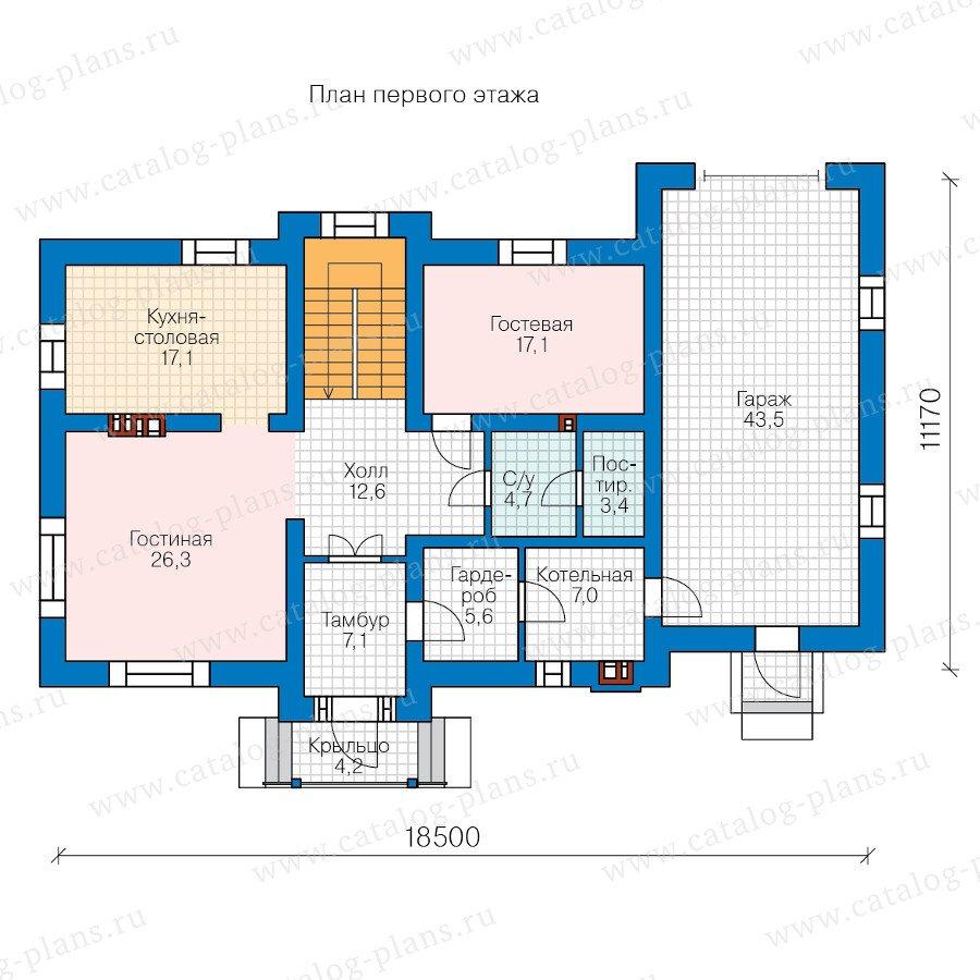 План 1-этажа проекта 58-66BBricks