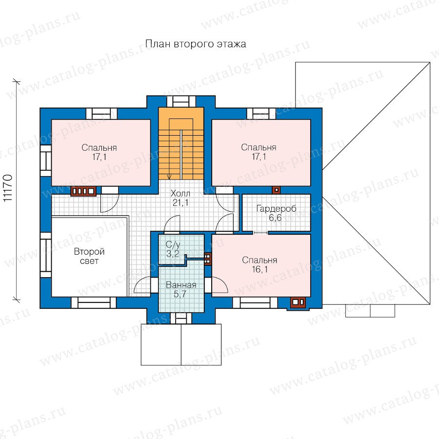 План 2-этажа проекта 58-66BBricks