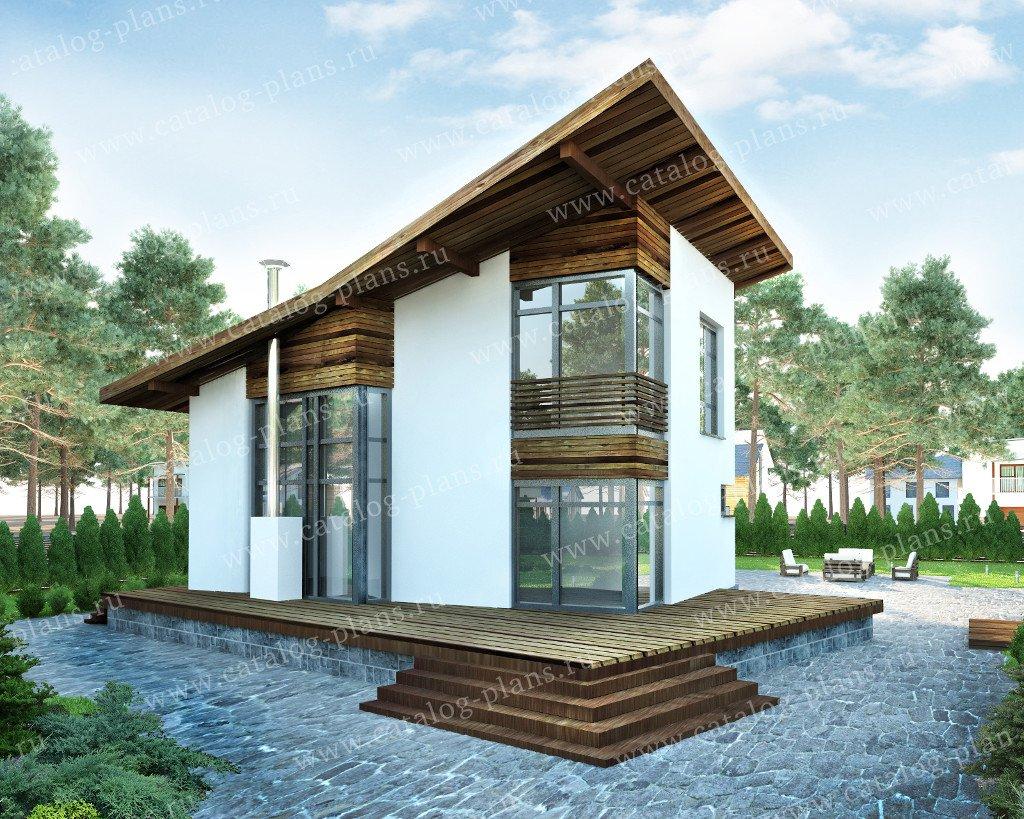 Проект жилой дом #60-89 материал - газобетон, стиль хай-тек