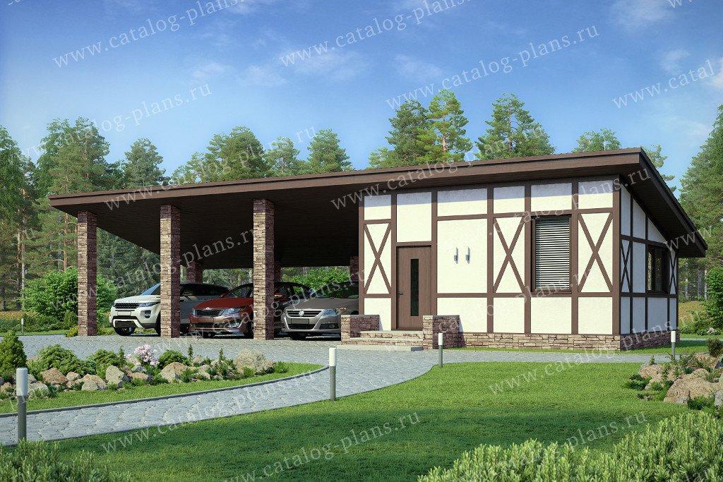 Проект гараж #70-82 материал - газобетон, стиль фахверк