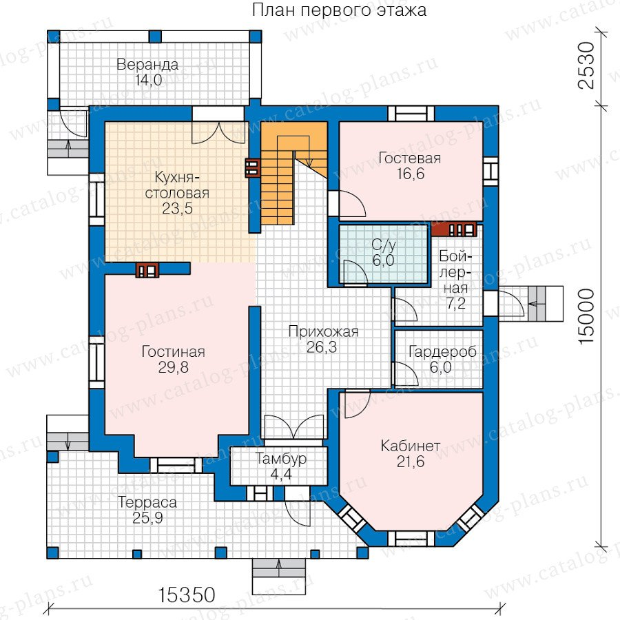 План 1-этажа проекта 40-53