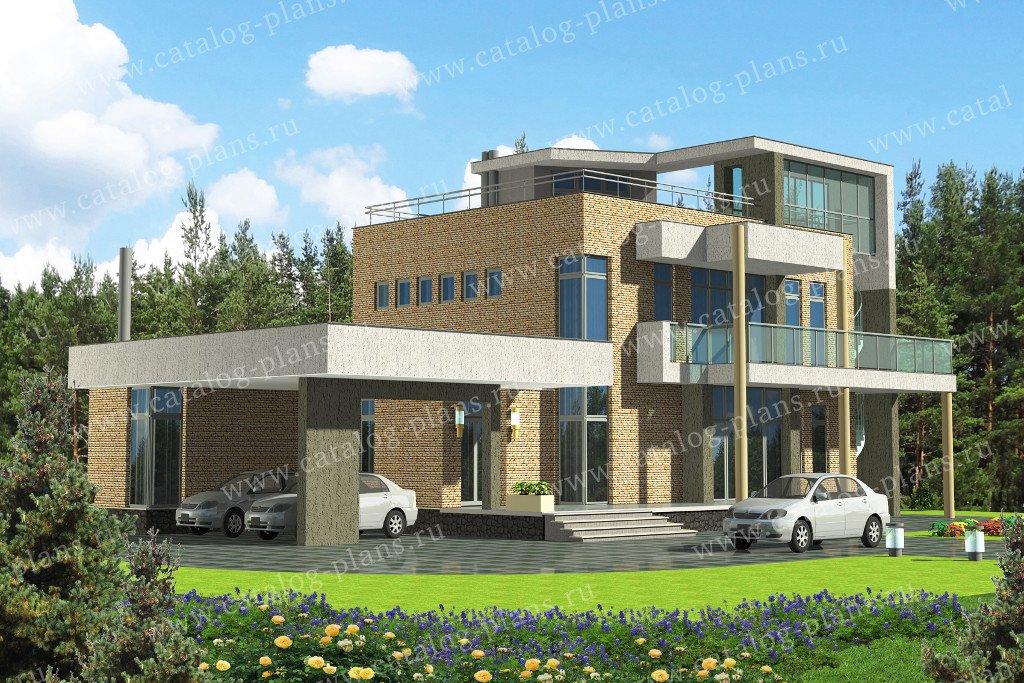 Проект жилой дом #47-56 материал - кирпич, стиль хай тек