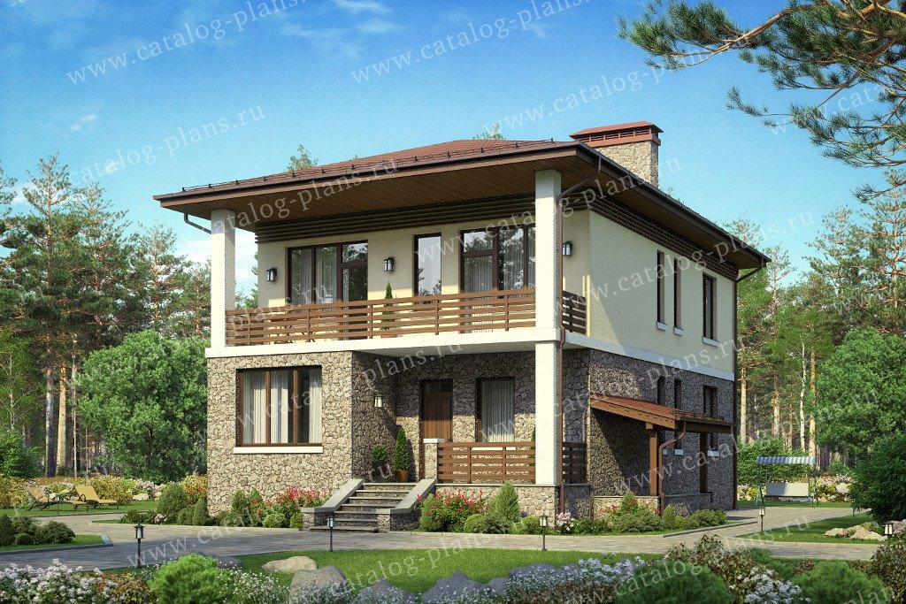 Проект жилой дом #59-90A материал - газобетон, стиль современный