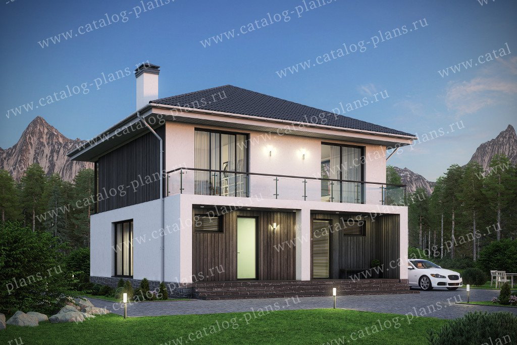 Проект жилой дом #58-68 материал - газобетон, стиль хай-тек