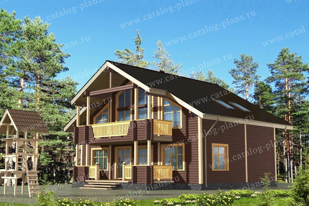 Проект жилой дом #13-63 материал - дерево, стиль шале