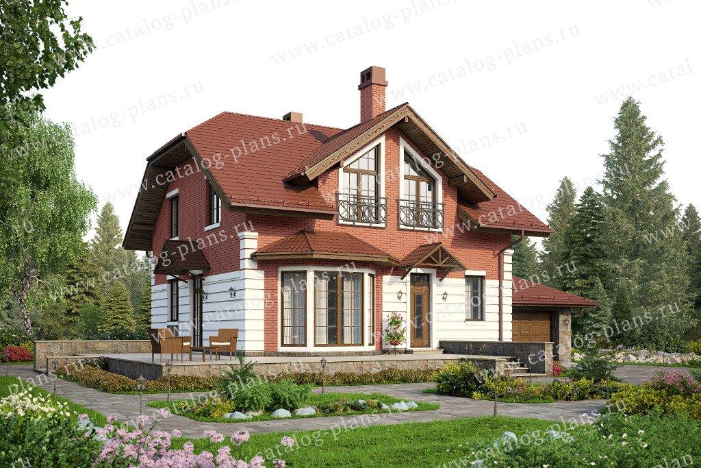 Проект жилой дом #57-52L материал - кирпич, стиль европейский