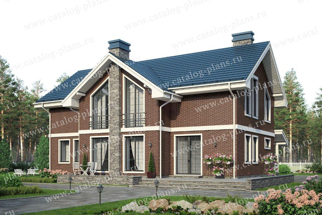 Проект жилой дом #57-85 материал - кирпич, стиль скандинавский