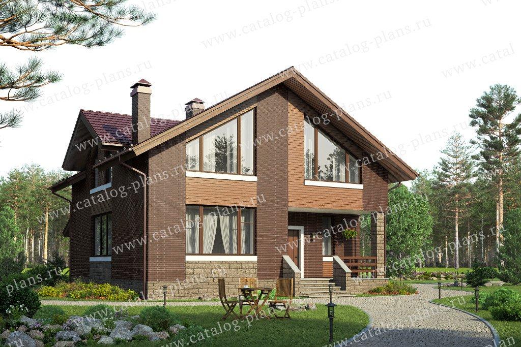 Проект жилой дом #58-20KL материал - кирпич, стиль современный