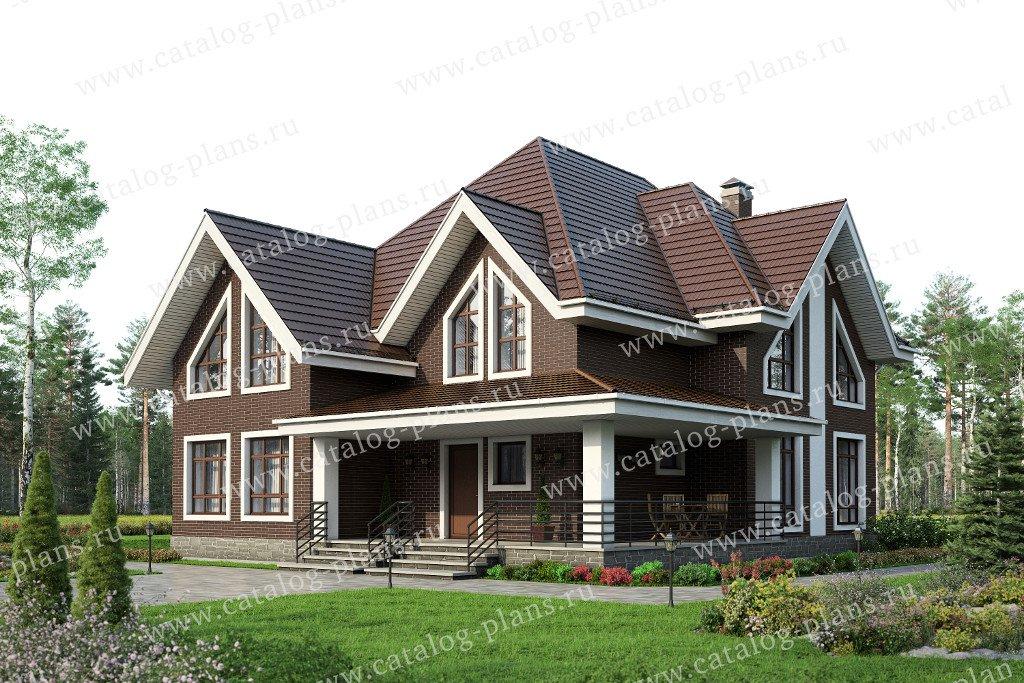 Проект жилой дом #59-86L материал - газобетон, стиль европейский