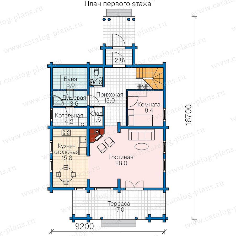 План 1-этажа проекта 13-65
