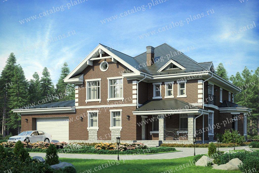 Проект жилой дом #57-33BK материал - кирпич, стиль американский