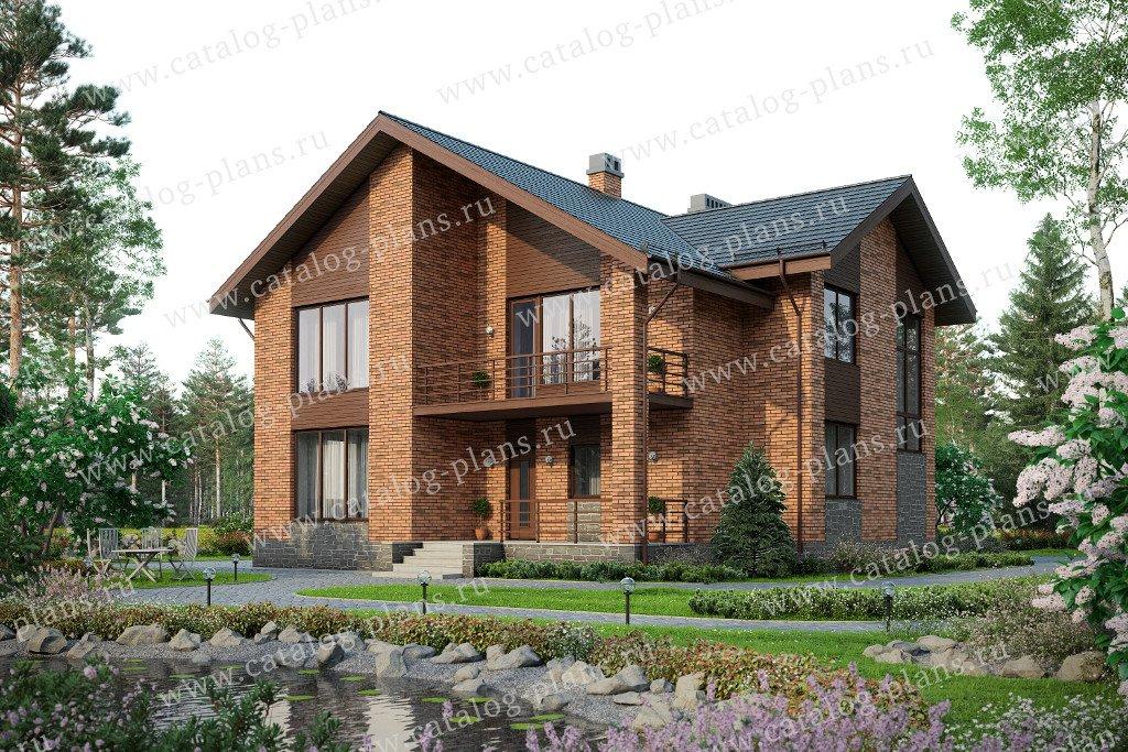 Проект жилой дом #57-58L материал - газобетон, стиль европейский