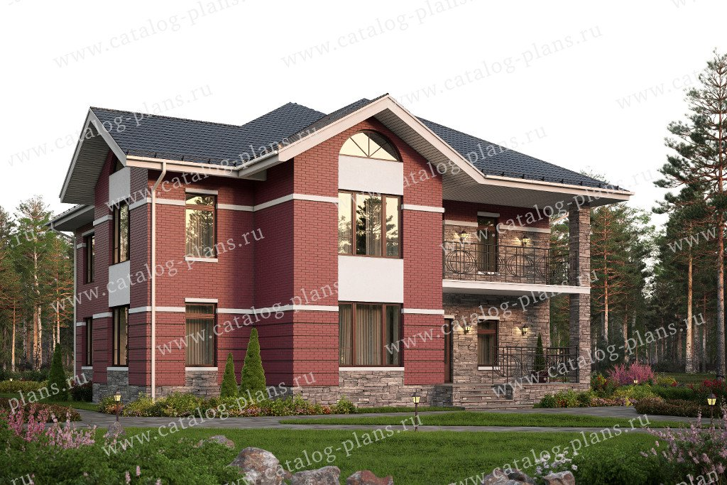 Проект жилой дом #57-56L материал - газобетон, стиль европейский